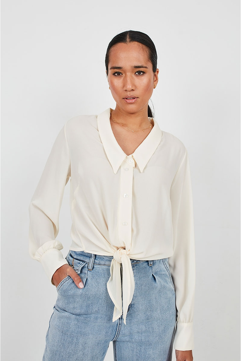 FLOWY CHIFFON BLOUSE WITH KNOT