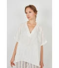 LINEN TOP WITH V-NECK AND POCKET