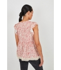 FLOWY VISCOSE BLOUSE PRINTED WITH EMBROIDERY