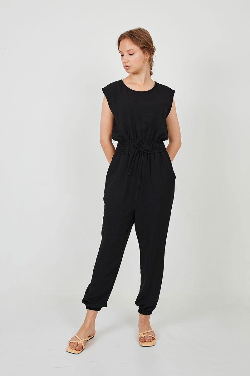 LONG JUMPSUIT WITH GUMMED WAIST