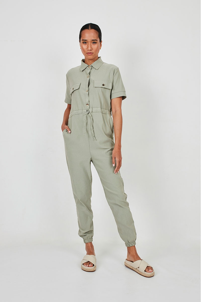 LONG WORKER-STYLE JUMPSUIT