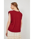 SATIN T-SHIRT WITH SHOULDER PADS