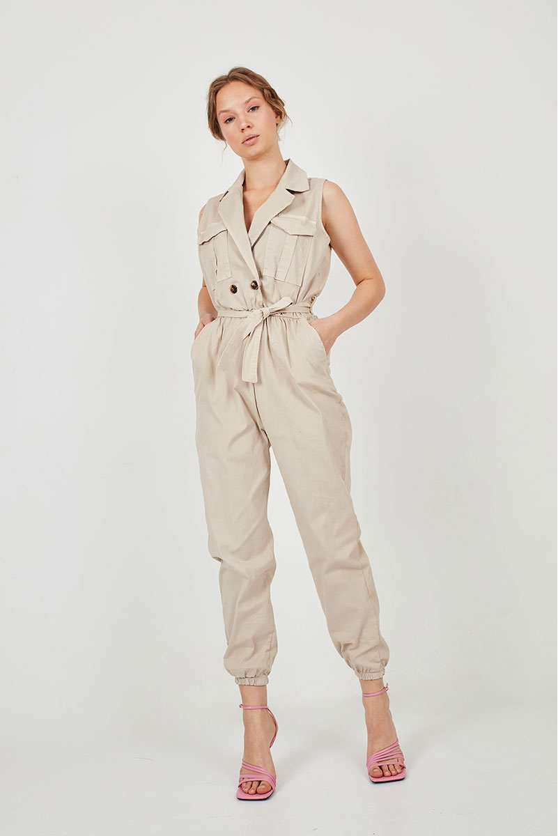 SLEEVELESS WORKER JUMPSUIT