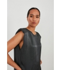 SATIN TOP WITH SHOULDER PADS