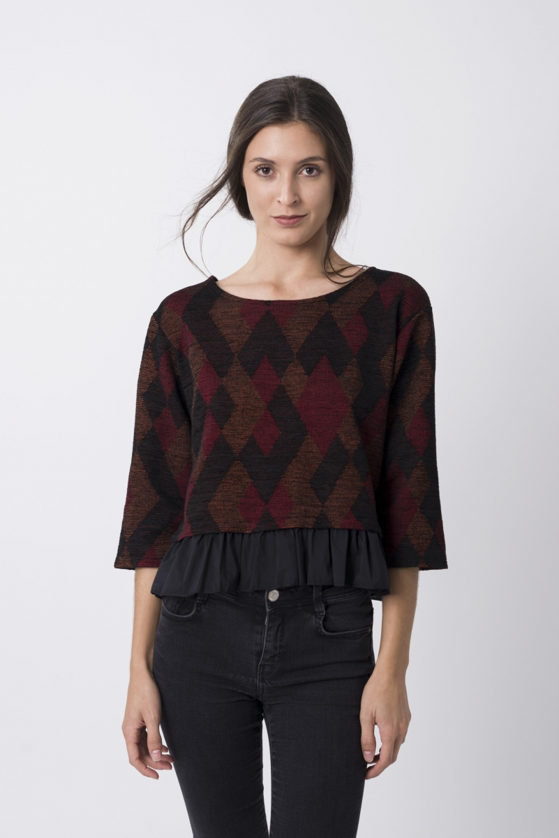 Jersey tweed Negro, Granate Y Cobre
