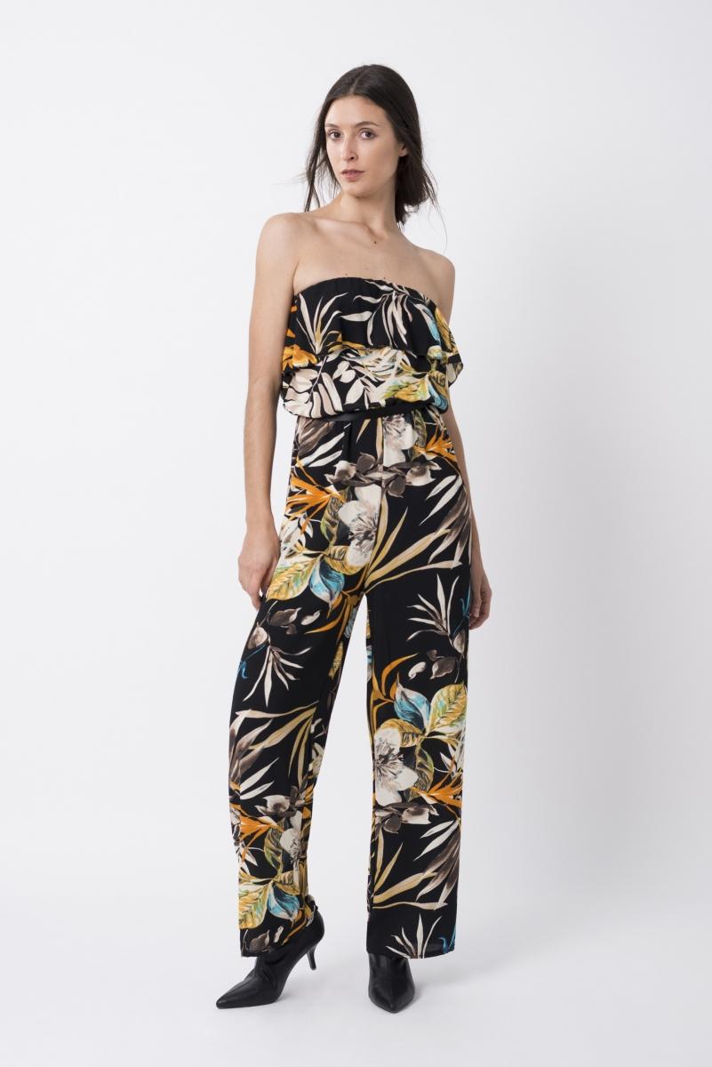 Mono Fluido Floral Negro Multicolor