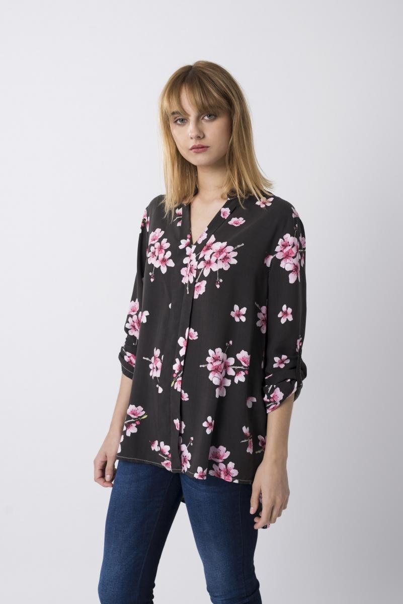 Blusa Estampado Froral Rosa Y Marrón Oscuro