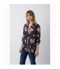 Floral Print Pink And Dark Brown Blouse