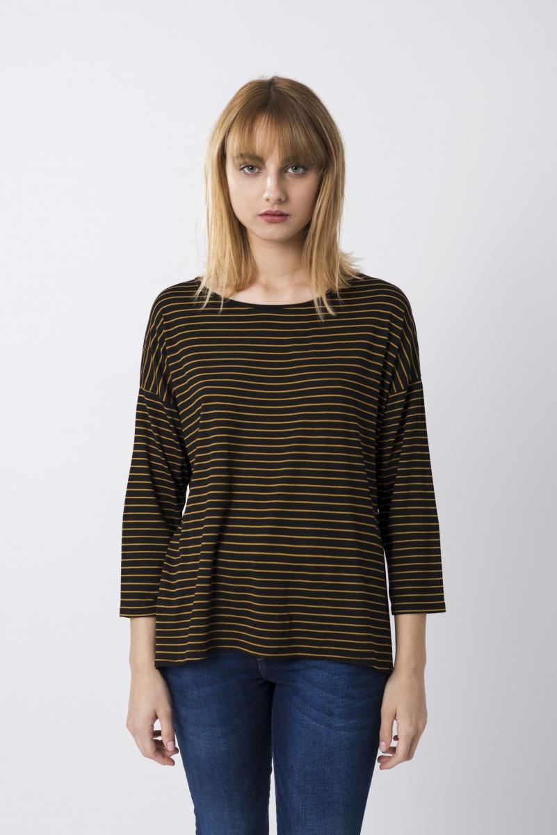 Camiseta Rayas Combinadas Negro Y Mostaza