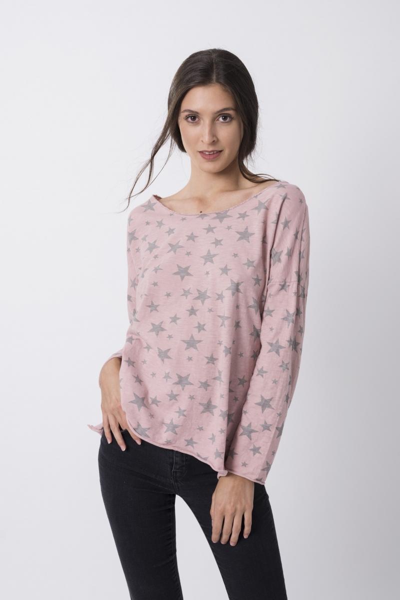 Camiseta De Estrellas Rosa