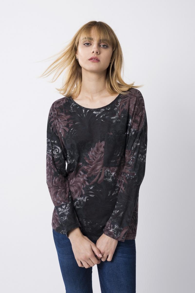 Camiseta Estampado Floral Gris Antracita Y Granate Oscuro