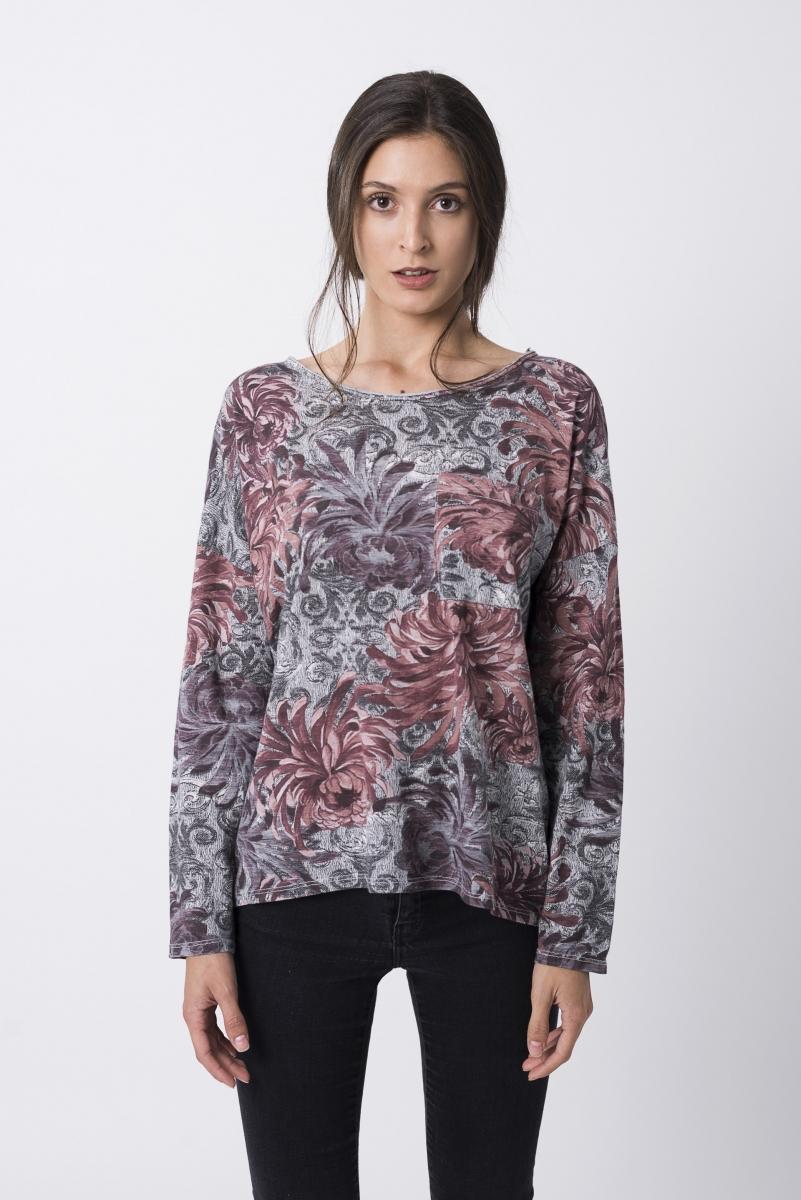 Camiseta Estampado Floral Gris Y Burdeos