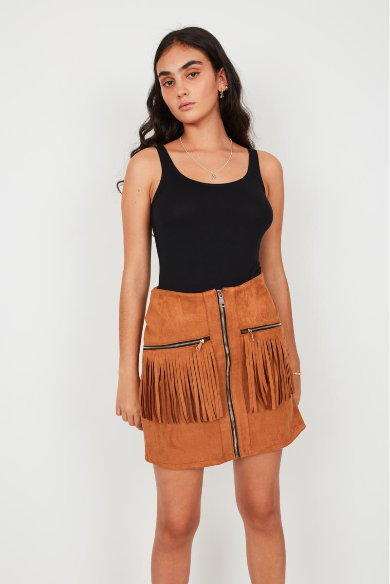 FRINGED SUEDE-EFFECT SKIRT