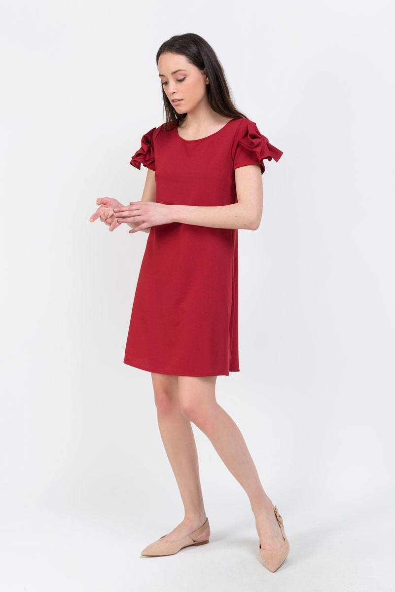 sleeve dress with bow