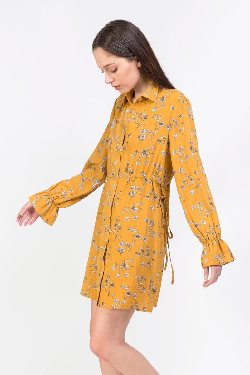 Vestido camisero mostaza