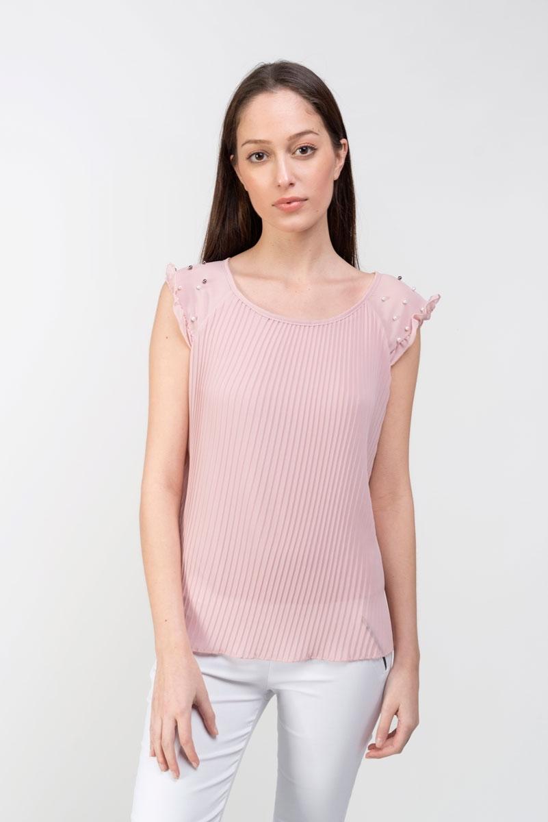 Top plisado perlas rosa palo