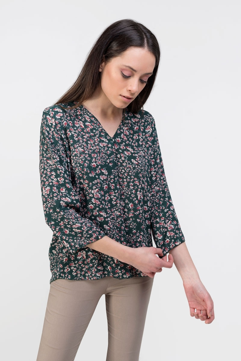 Floral print navy green blouse