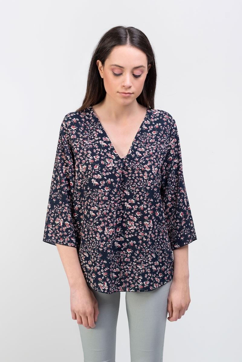 Floral print navy blue blouse