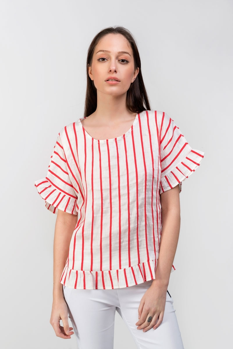 red striped linen top