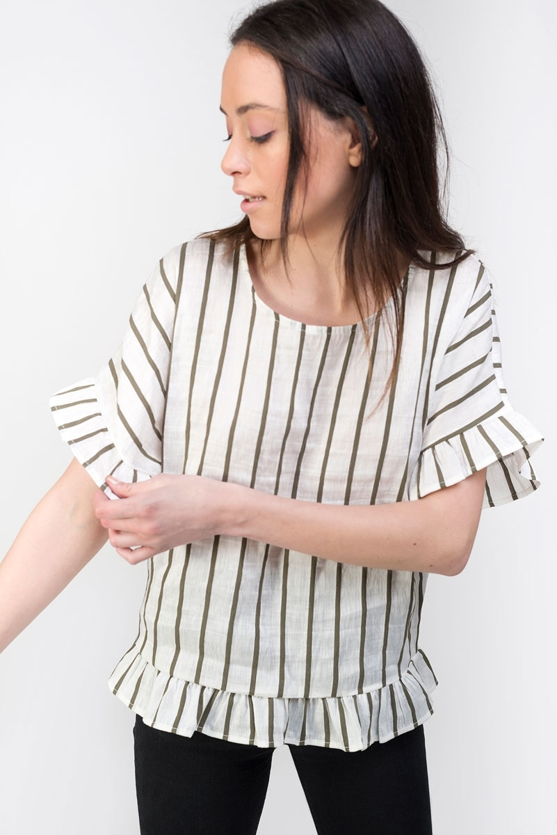 caky striped linen top