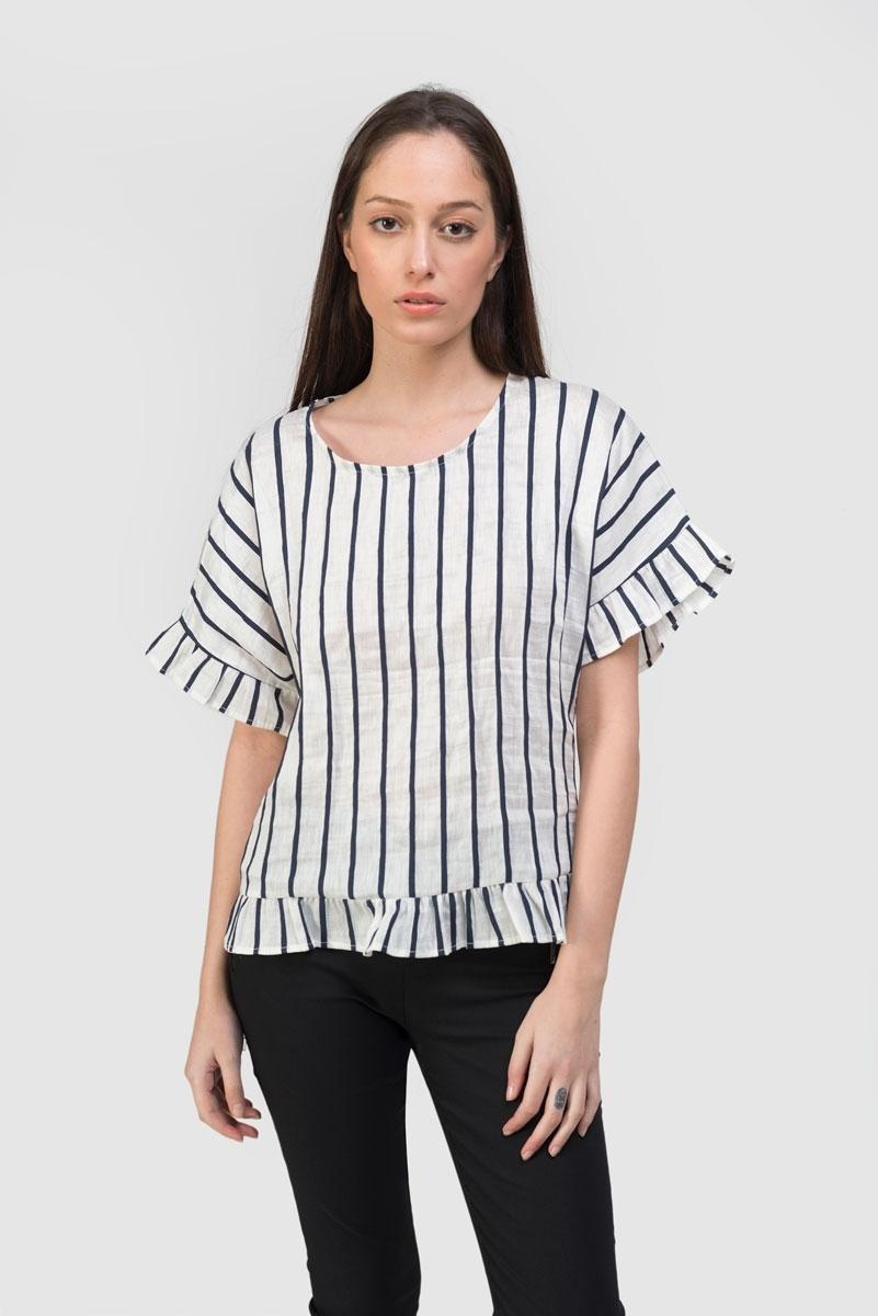 navy striped linen top