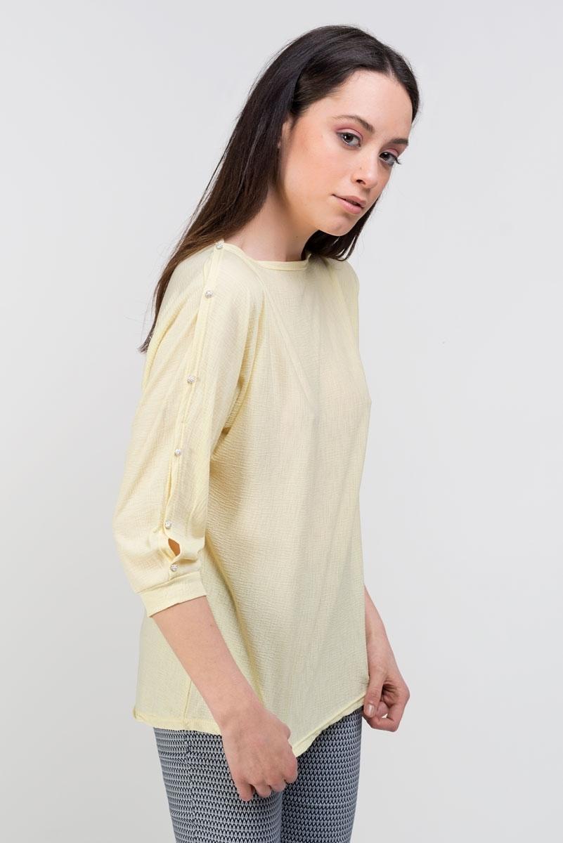 pastel yellow top with swarovski