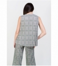 Green plaid pleated top