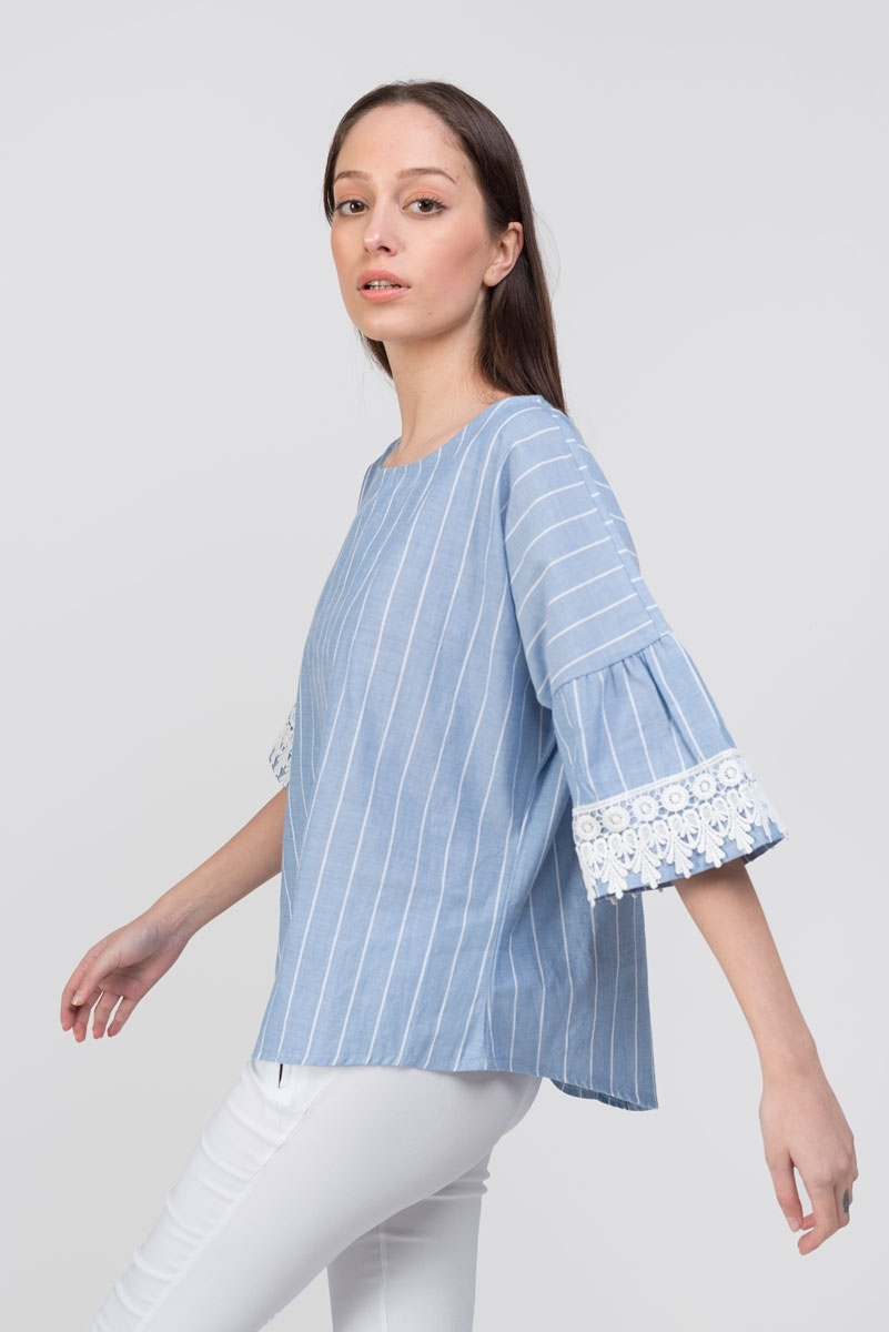 Blue striped top with embroidery