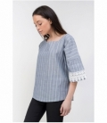 Gray striped top with embroidery