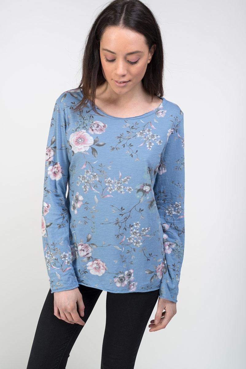 Camiseta azul algodón estampado floral