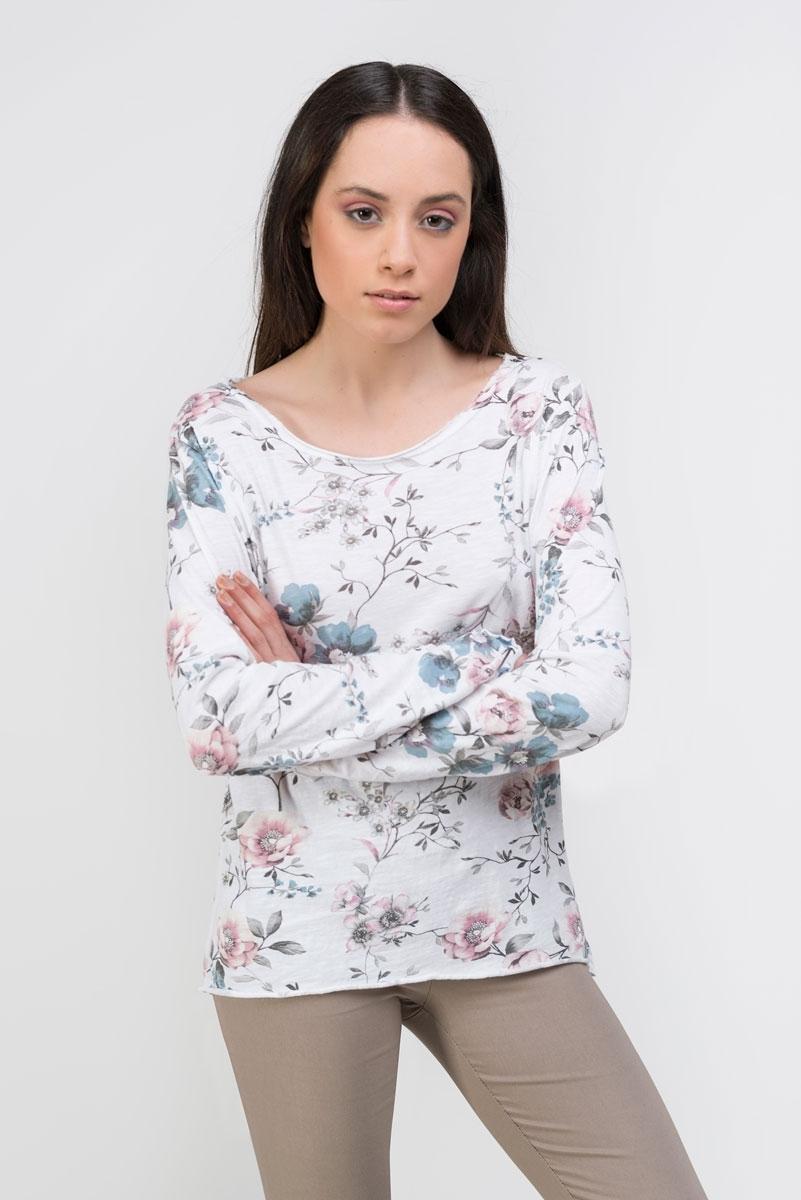 Floral print white cotton t-shirt