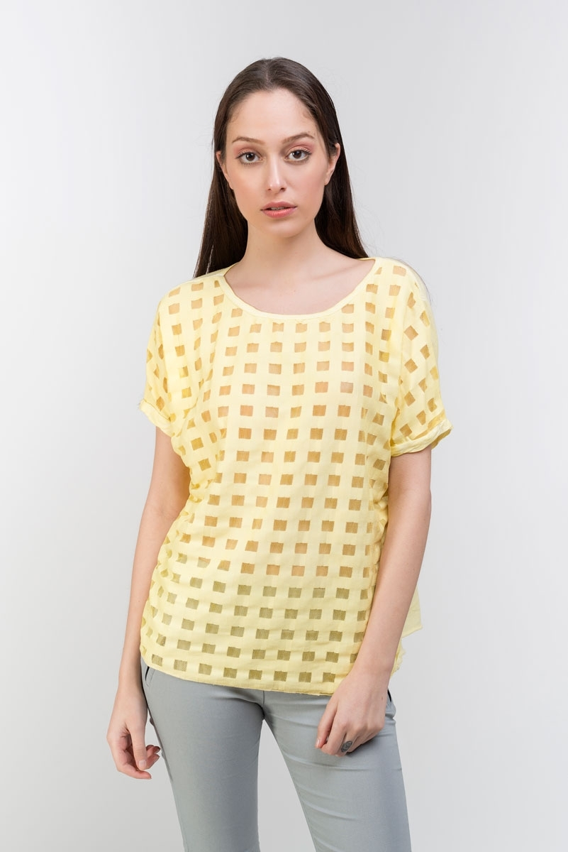 Semitransparent yellow  checkered T-shirt