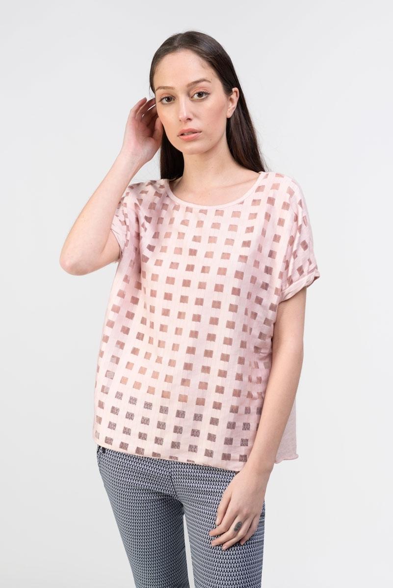 Camiseta cuadros semitransparente rosa