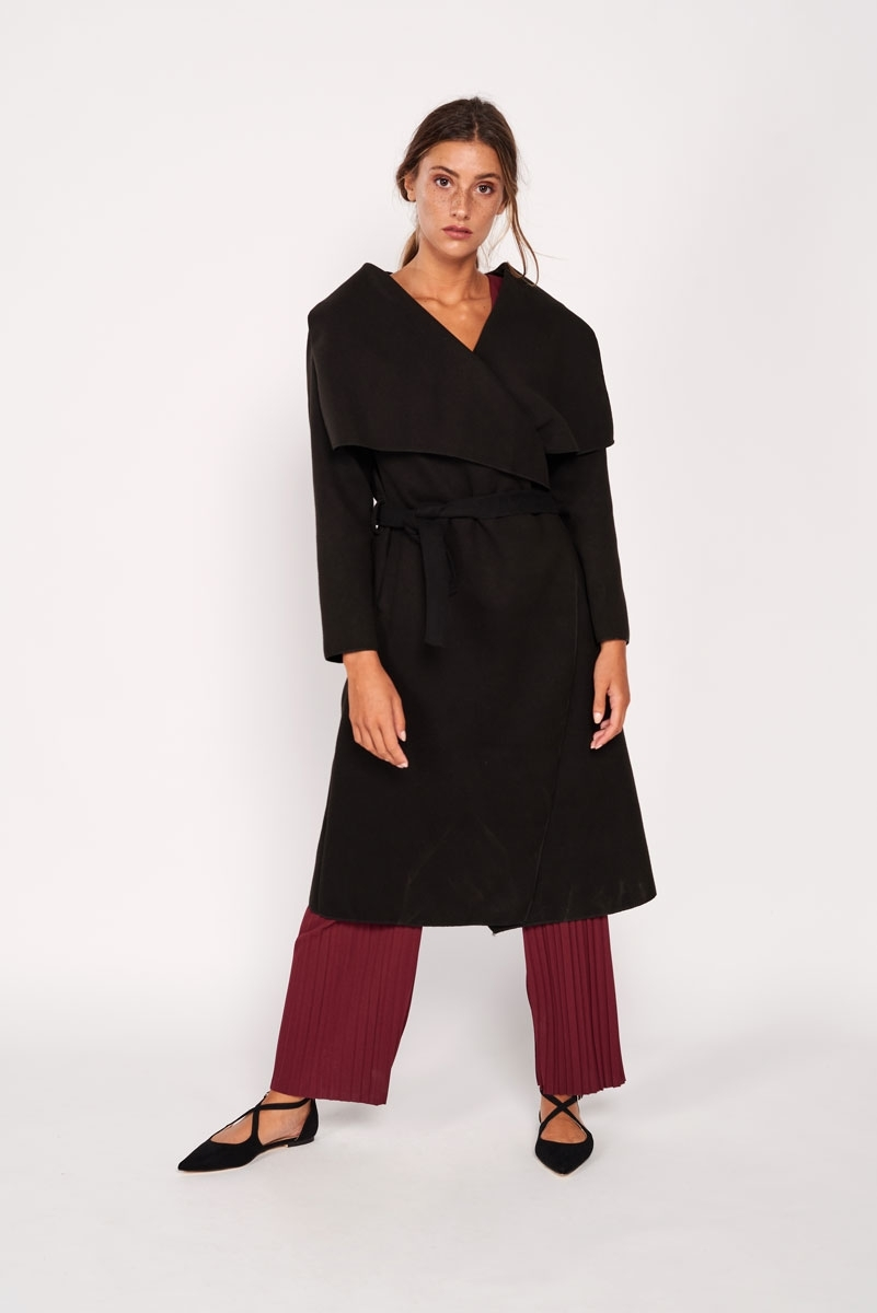 Long coat with flaps