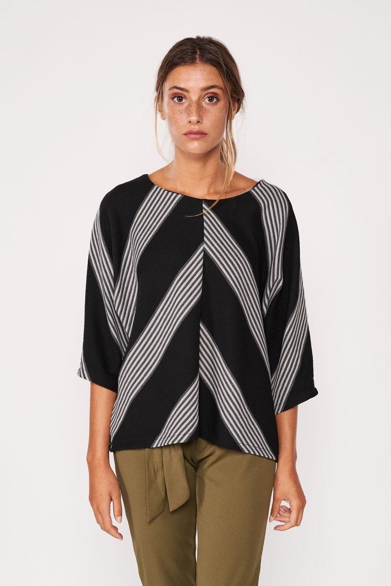 Jersey rústico con rayas relieve