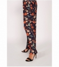 Palazzo micro pleated floral print trousers