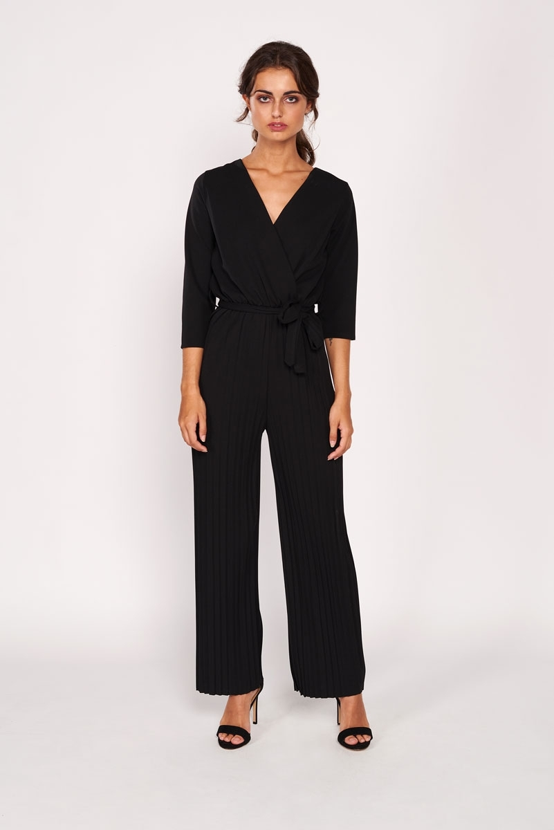 Palazzo micropleated jumpsuite