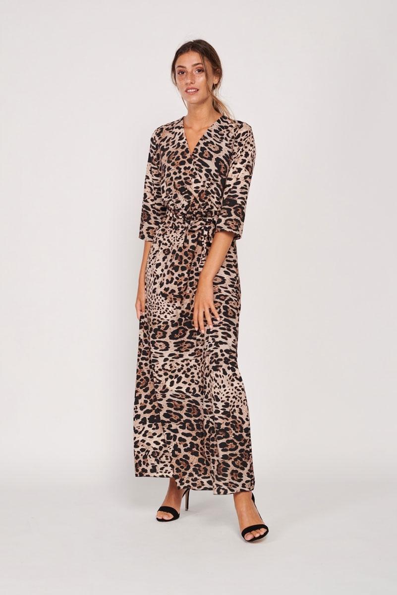 Vestido largo satinado leopardo leopardo