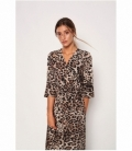 Long satin leopard dress