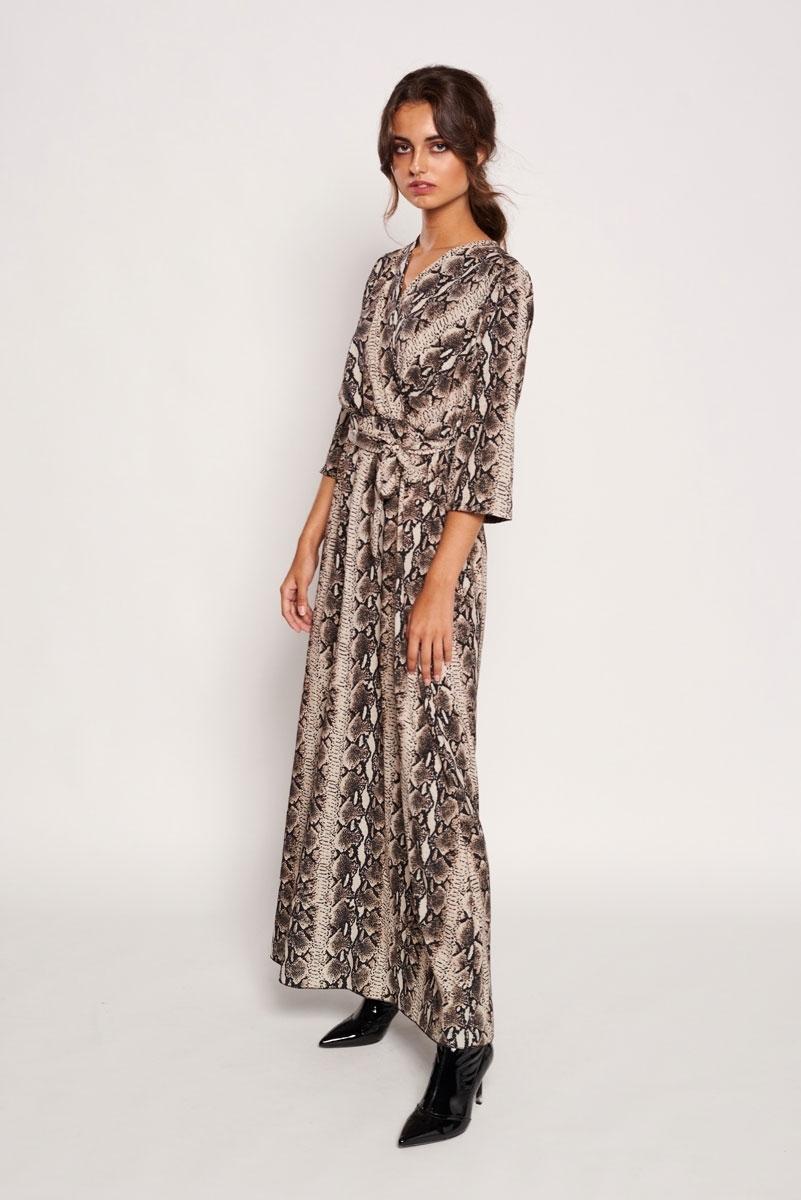 Long satin snakeskin dress