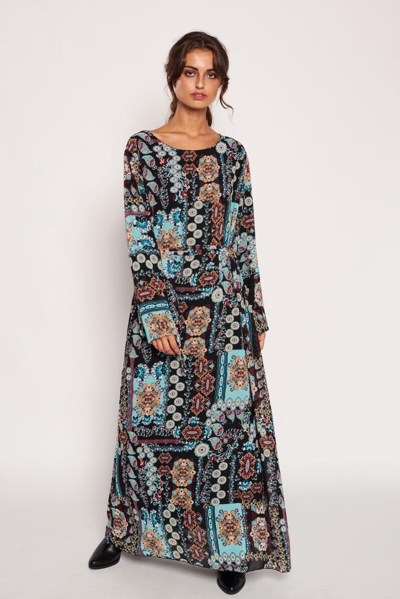 Vestido largo estampado abstracto