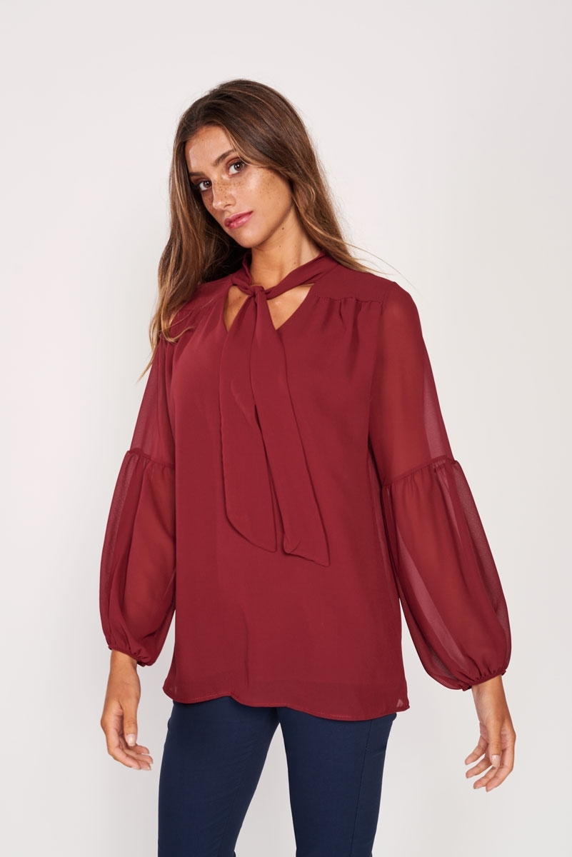 Neck with bow blouse