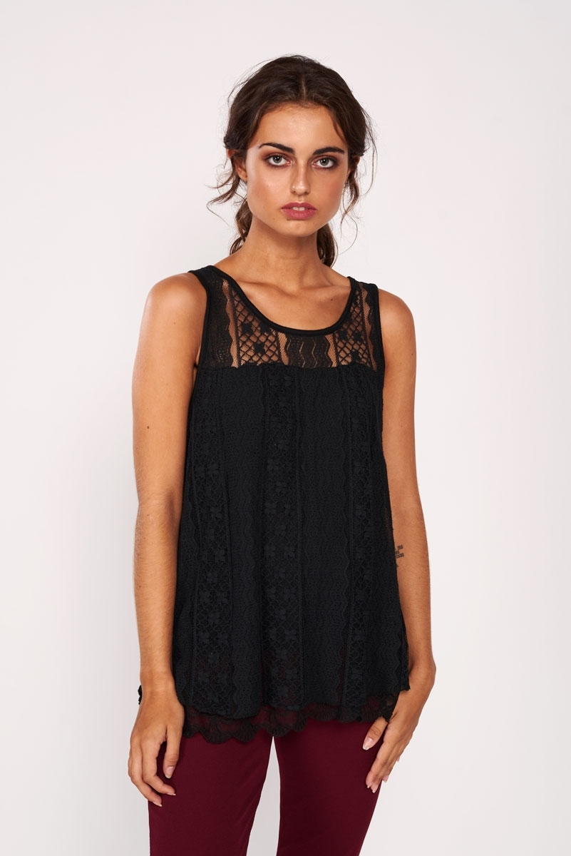 Perforated embroidered top
