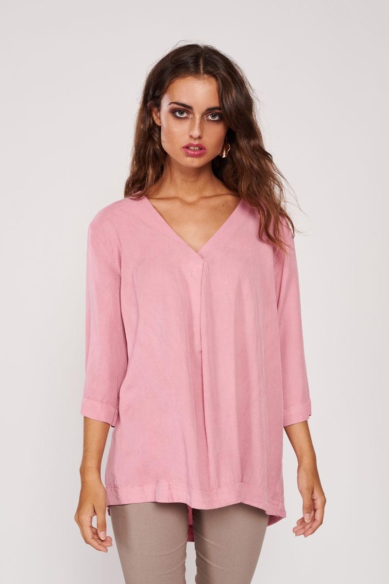 Pleated satin blouse