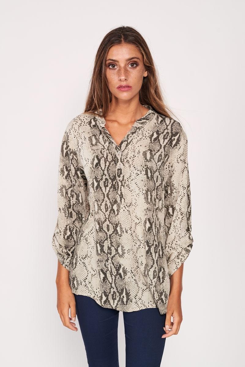 Oversized snakeskin print shirt