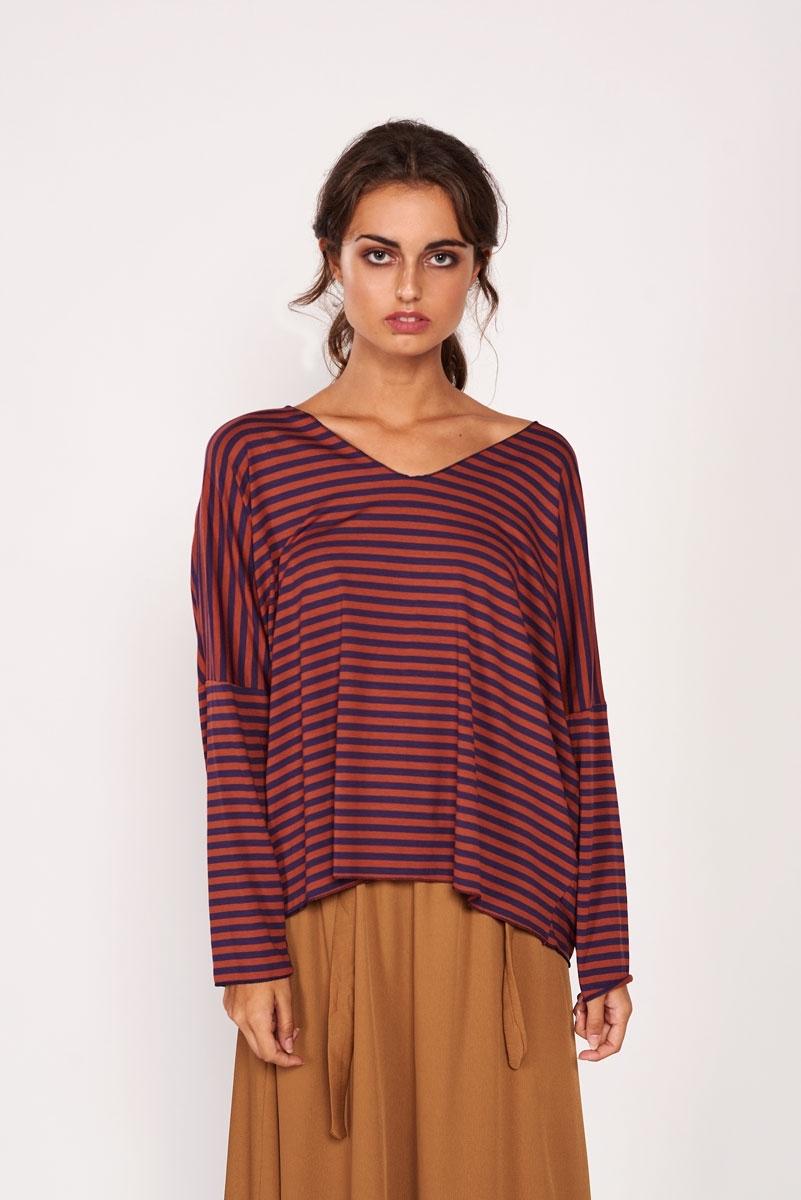 Terracotta  striped t-shirt