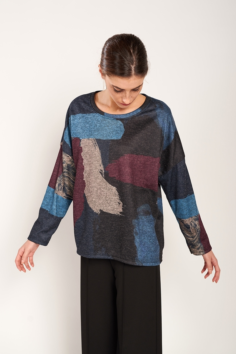 Abstract print sweater
