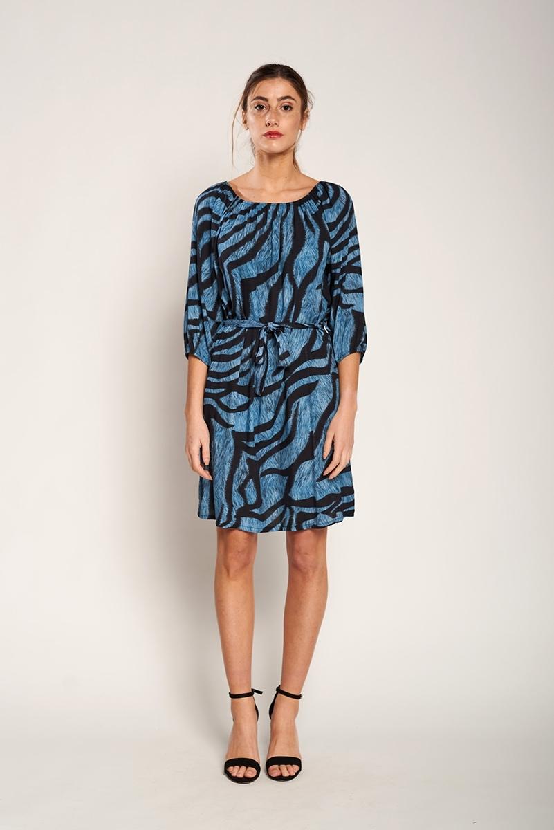 Animal print belt dress