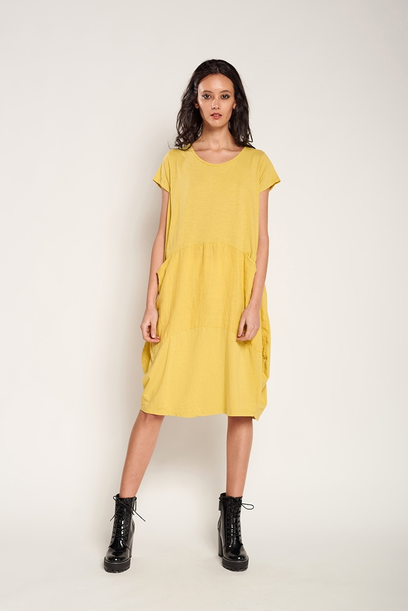 Vestido combinado lino