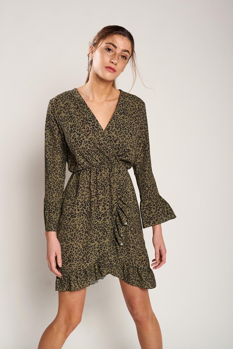Animal print ruffles dress